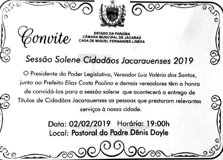 Câmara realiza  Sessão Solene de entrega de Títulos de Cidadão Jacarauense no próximo dia 02