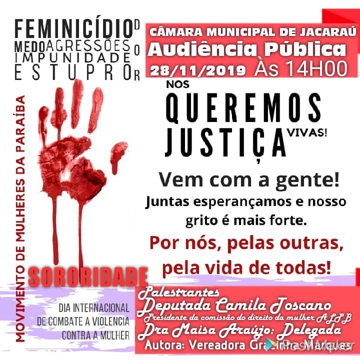 Violência contra a mulher será tema da audiência pública no dia 28 na Câmara de Jacaraú